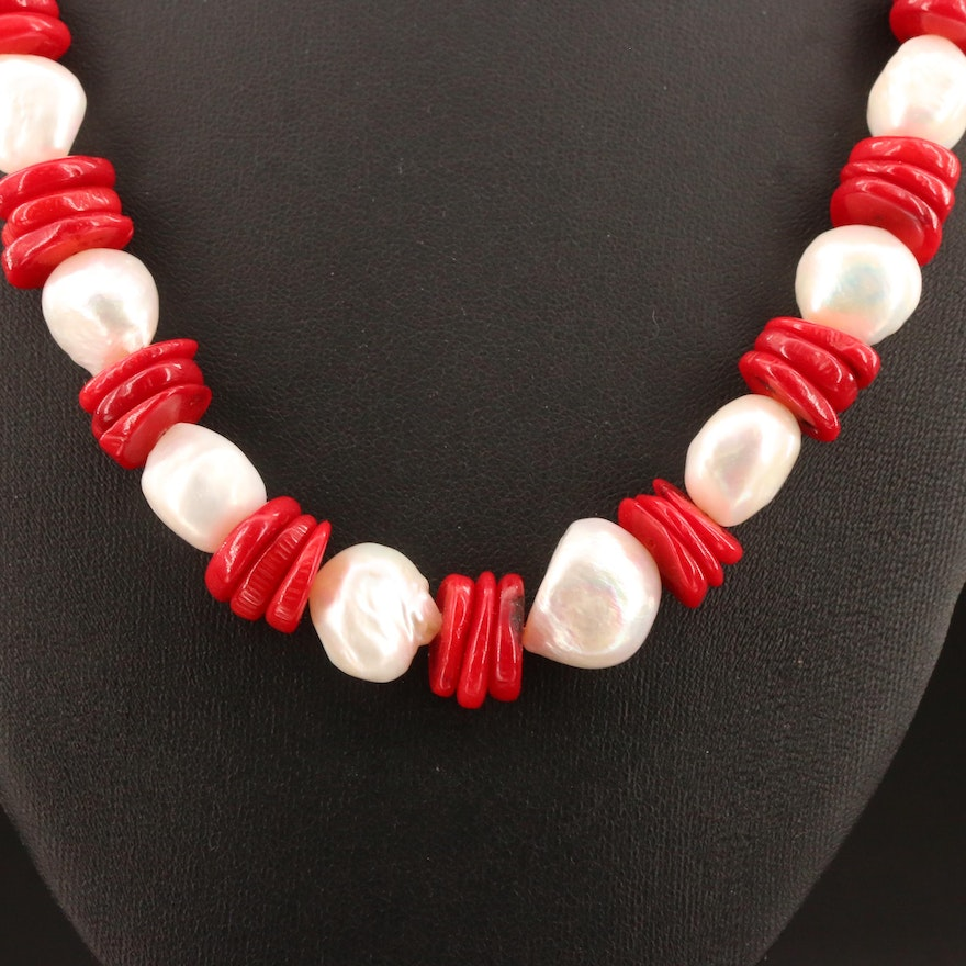 Pearl and Coral Beaded Necklace with Sterling Clasp