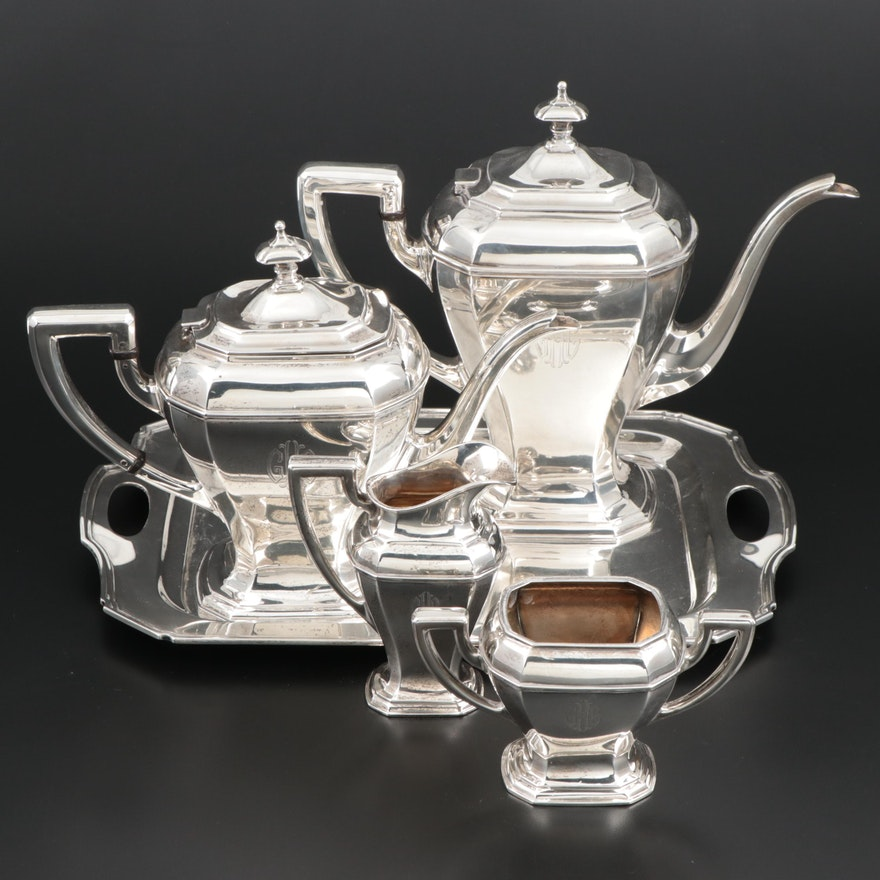 """Reed & Barton """"Greenwich"""" Sterling Silver Tea and Coffee Set, 1928-1929"""