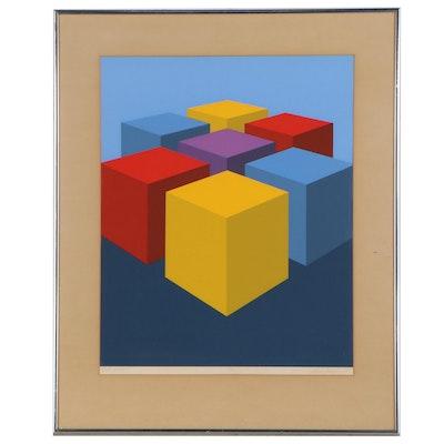 "Marko Spalatin Op Art Serigraph ""Cube Group"", 1971"