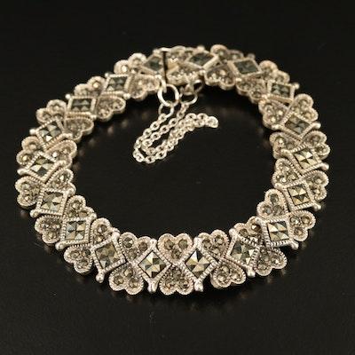 Sterling Silver Marcasite Heart Bracelet