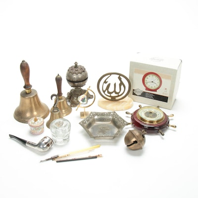 Sterling Overlay Smoking Pipe, Atco Barometer, Brass Bells, and Other Decor