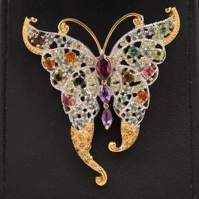 Sterling Garnet, Amethyst and Citrine Butterfly Brooch