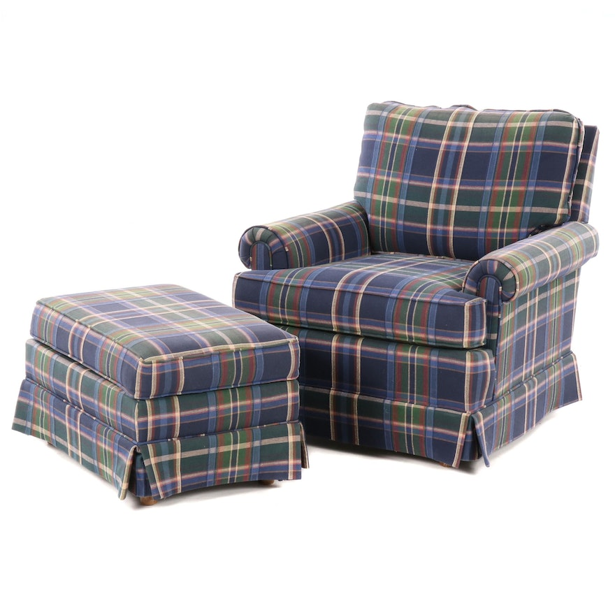 Rowe Furniture Plaid Club Chair and Ottoman, Late 20th Century