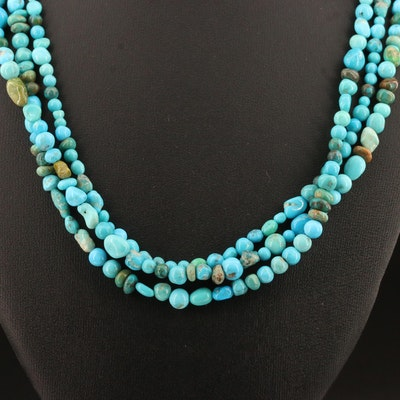 Turquoise Triple Strand Necklace with Sterling Silver Clasp