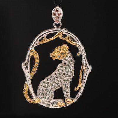 Sterling Silver Sapphire Cheetah Motif Pendant
