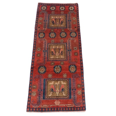 3'6 x 9'3 hand-Knotted Persian Kakaberu Wool Long Rug