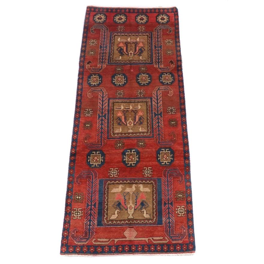 3'6 x 9'3 hand-Knotted Persian Kakaberu Wool Long Rug