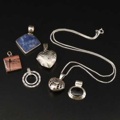 Assorted Sterling Silver Jewelry Featuring Gemstone Accents and Heart Locket