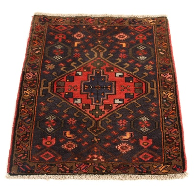 2'4 x 3' Hand-Knotted Persian Zantan Rug, 1970s