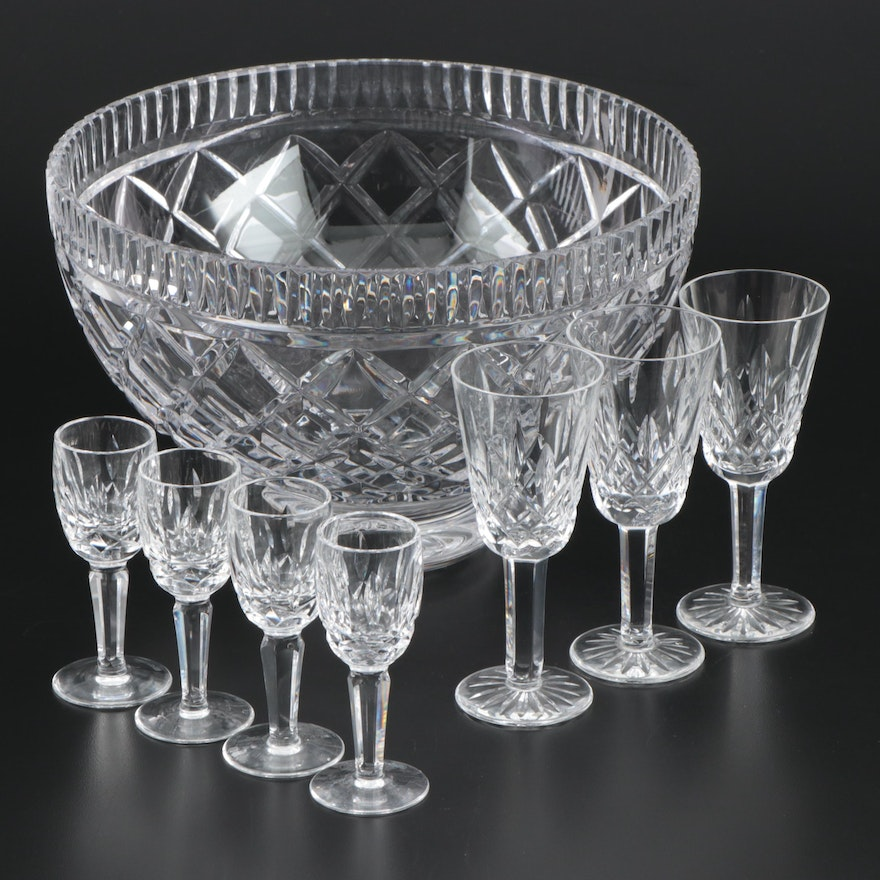 """Waterford Crystal """"Killeen"""" Bowl, """"Kildare"""" Liqueur and """"Lismore"""" Sherry Glasses"""