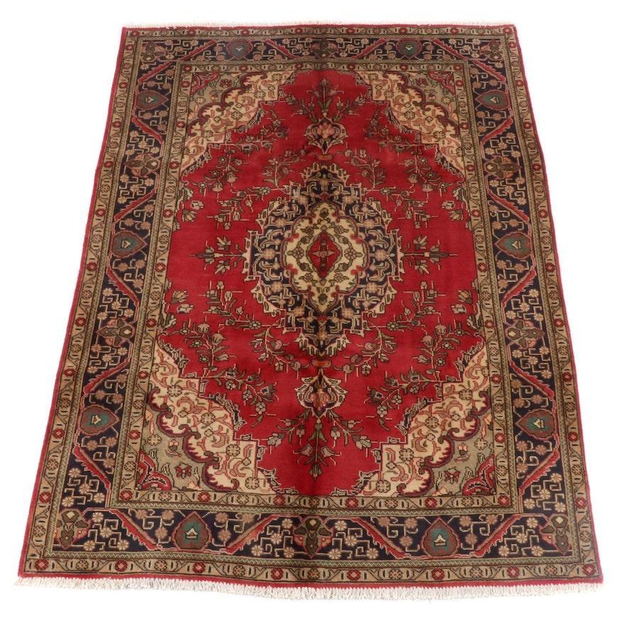 6'5 x 9'6 Hand-Knotted Persian Mashhad Wool Rug