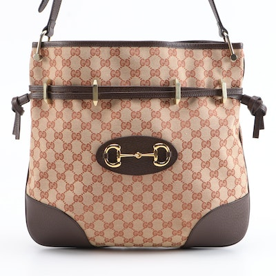 Gucci 1955 Horsebit Messenger Bag in Beige and Brick Red GG Canvas
