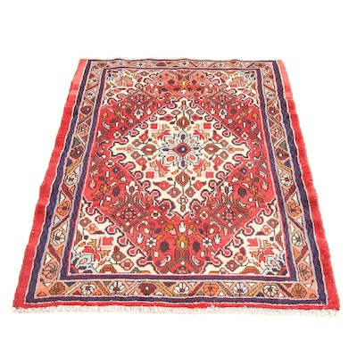 3'6 x 5'1 Hand-Knotted Persian Zanjan Rug, 1970s