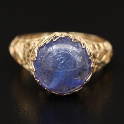 14K Tanzanite Ring with Openwork Foliate Pattern