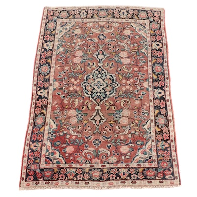 4'3 x 6'9 Hand-Knotted Persian Mashhad Wool Rug