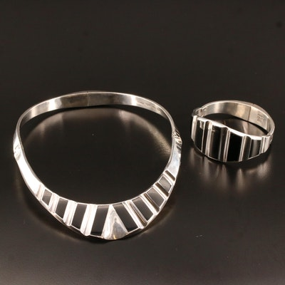 Alicia Plata Joyeria Taxco, Mexico 950 Silver Black Onyx Inlay Jewelry Set