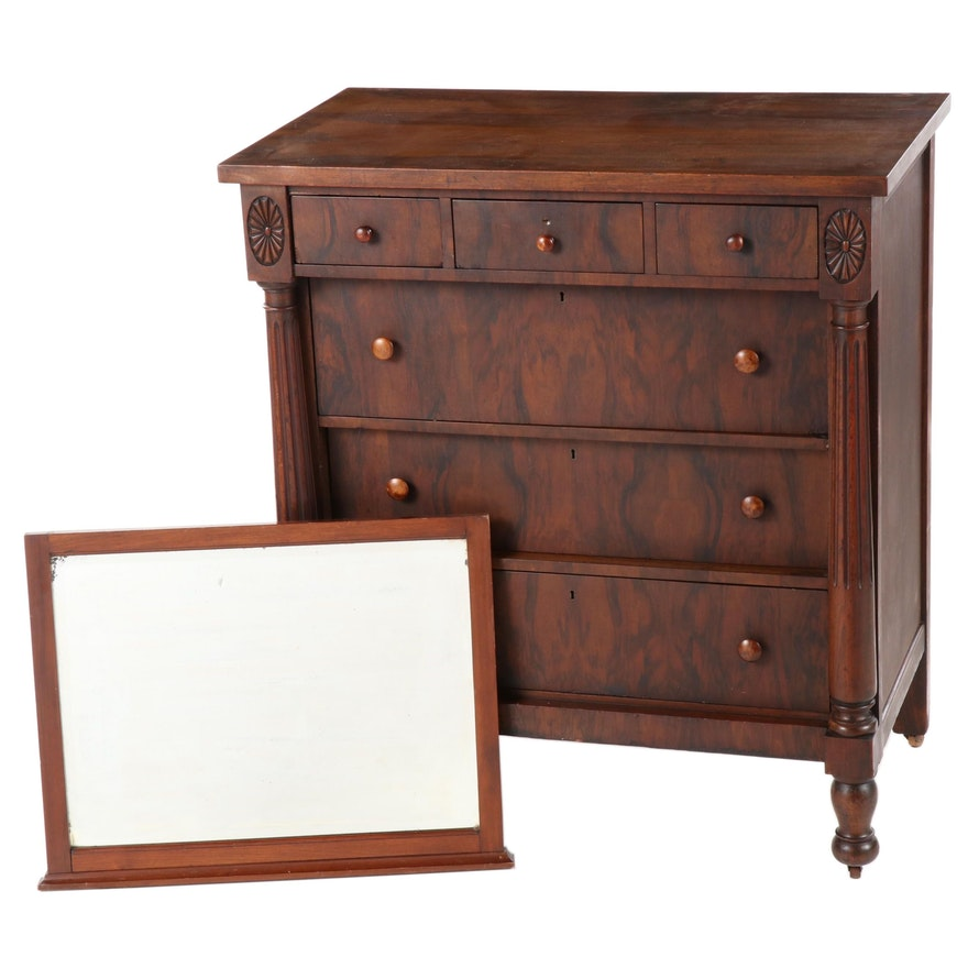 American Empire Style Chest of Drawers with Mirror, Early to Mid 20th Century