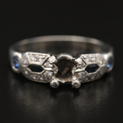 Platinum Diamond and Sapphire Semi Mount Ring