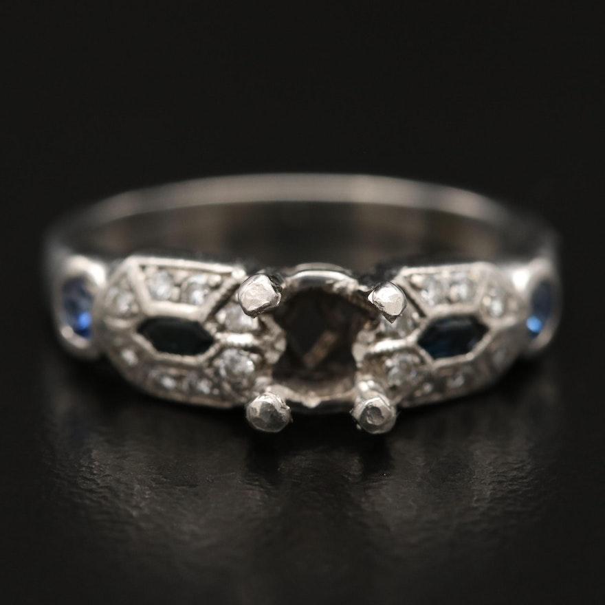 Platinum Diamond and Sapphire Semi Mount Ring