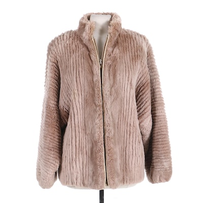 Mauve Dyed Corded Rabbit Fur Oversized Jacket, Mid to Late 20th Century