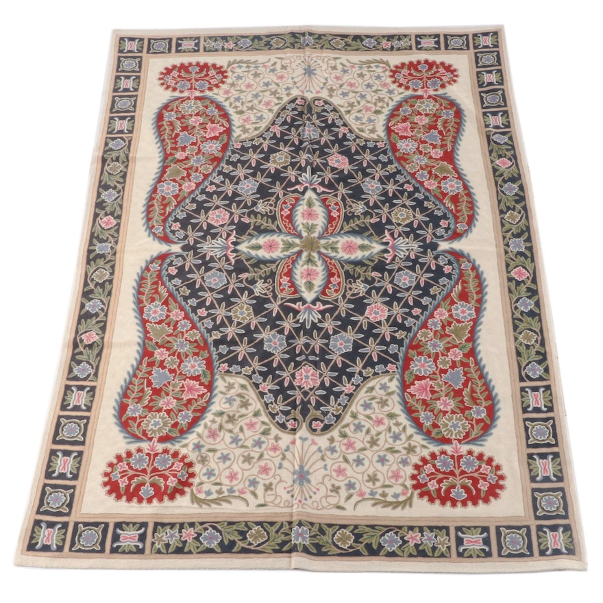 5'11 x 9'1 Indian Chain Stitch Embroidered Wool Rug