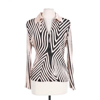 Women's Bead and Satin Appliqué Embellished Elasticized Mesh Evening Jacket