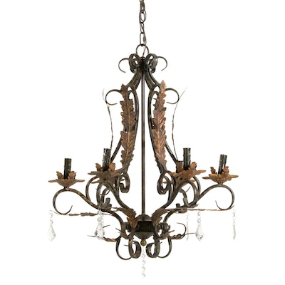French Provincial Style Gilt Metal Chandelier
