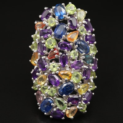 Sterling Kyanite, Amethyst and Peridot Cluster Ring
