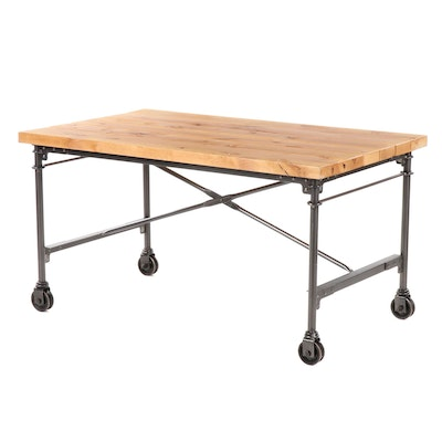 Industrial Style Wood and Metal Project or Bar Height Dining Table