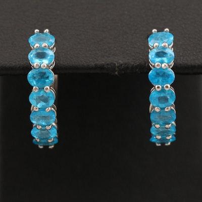 Sterling Apatite Huggie Earrings