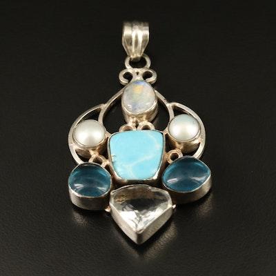 Larimar, Pearl and Labradorite Pendant with Scrolling Design