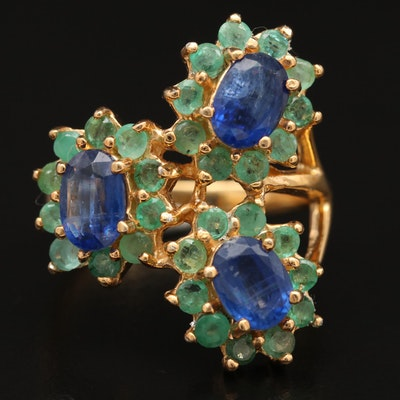 Sterling Kyanite and Emerald Flower Ring