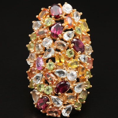 Sterling Rhodolite Garnet, Aquamarine and Sapphire Cluster Pointer Ring