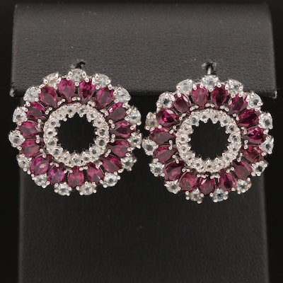 Sterling Garnet and Cubic Zirconia Drop Earrings