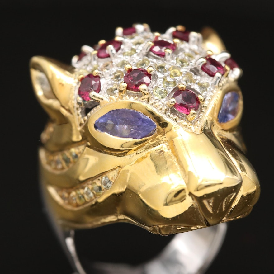 Sterling Tanzanite, Rhodolite Garnet and Sapphire Feline Ring