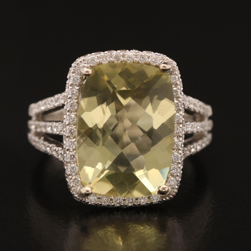 18K Citrine and 1.05 CTW Diamond Ring with Open Shoulder Design