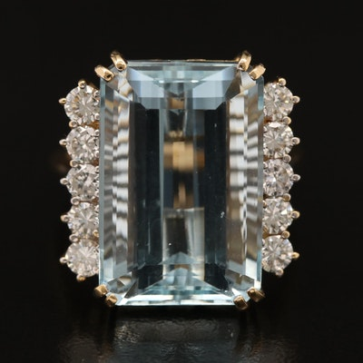 18K Aquamarine and 1.00 CTW Diamond Ring