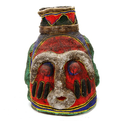 Bamileke-Bamum Style Fiber and Beaded Mask, Cameroon
