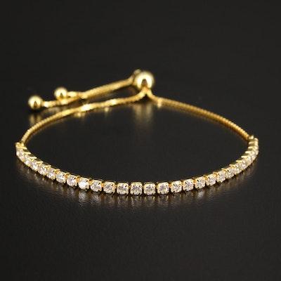 Sterling Cubic Zirconia Bolo Bracelet