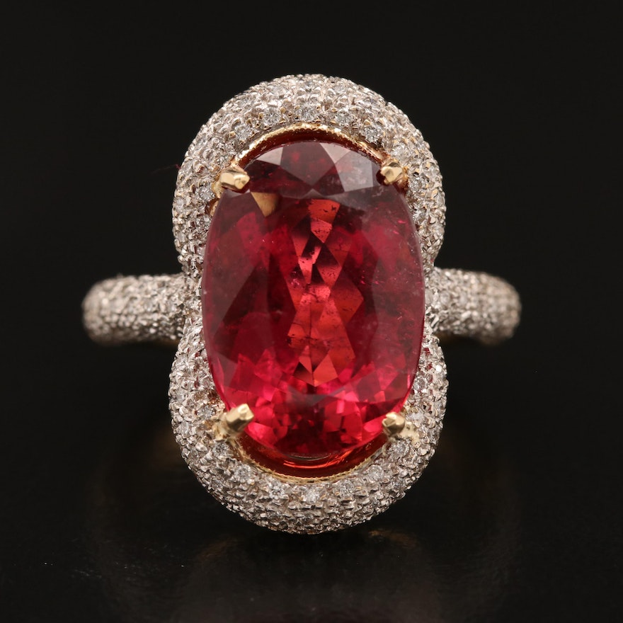 18K 8.40 CT Tourmaline Ring with Micro Pavé 1.04 CTW Diamond Halo and Shoulders