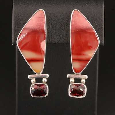 Sterling Silver Jasper and Garnet Non-Pierced Earrings