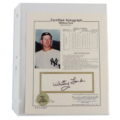 1985 Whitey Ford Signed New York Yankees Stats Photo Print
