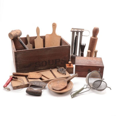 Wood and Metal Kitchen Tools Including Cutting Board, Mashers, and More