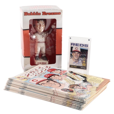 Pete Rose Signed 1964 Reprint Card, Bobblehead Doll, and 1995 Comic Books