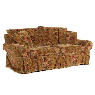 Henredon Corduroy Floral Down Filled Sofa, Late 20th Century
