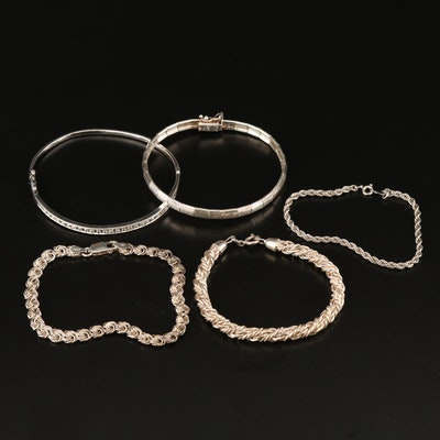 Sterling Silver Bangle and Chain Bracelets with Sapphire Accents