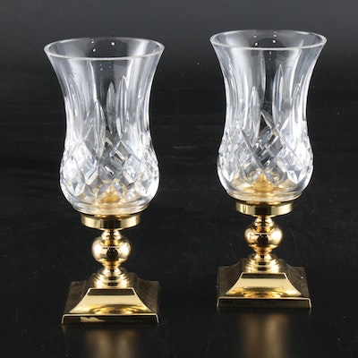 "Waterford Crystal ""Lismore"" Hurricane Lamps"