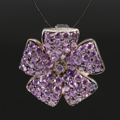 Sterling Amethyst Flower Enhancer Pendant