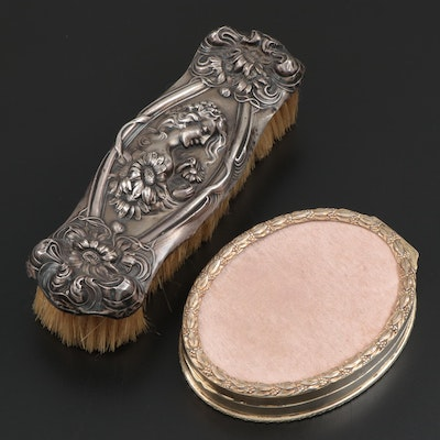 Art Nouveau Style Sterling Silver Brush with French Silver Dresser Box