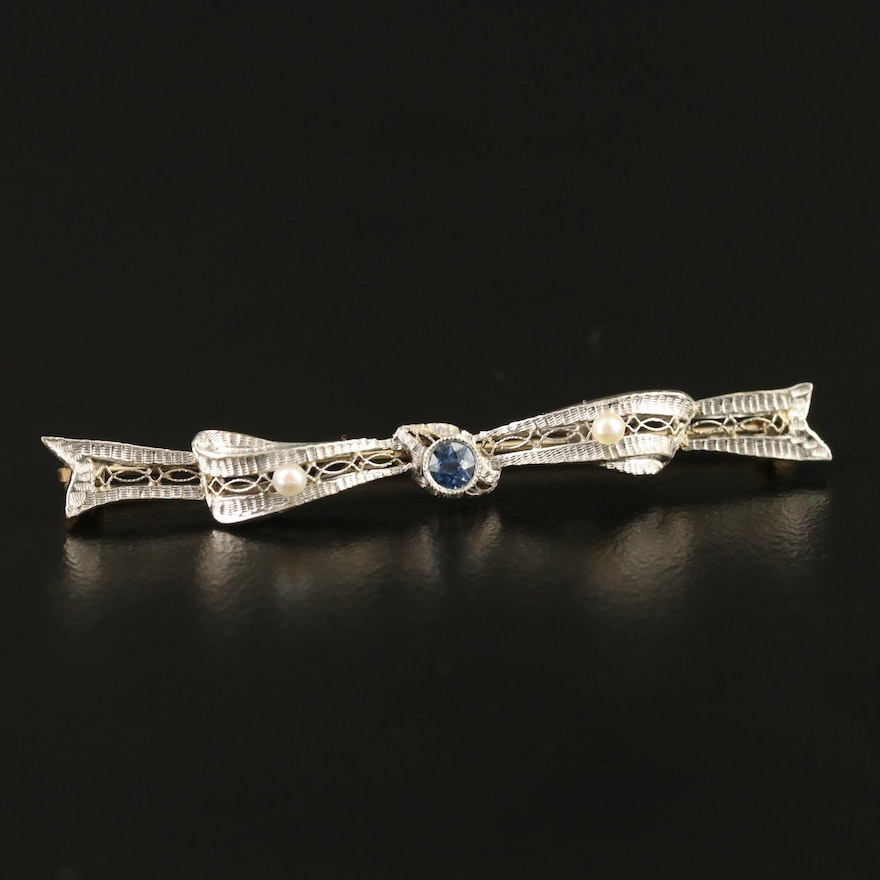 Edwardian Wordley, Allsopp & Bliss 14K, Platinum, Pearl and Sapphire Bar Brooch